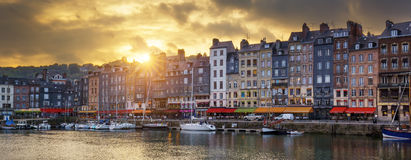 Honfleur panoramic sunset Royalty Free Stock Images