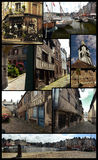 Honfleur poster. Several views  of Honfleur in Calvados department (France), as a poster showing different parts of the city Royalty Free Stock Image