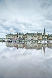 Honfleur skyline and harbor with reflection. Normandy, France Royalty Free Stock Photography