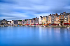 Honfleur skyline harbor and water reflection. Normandy, France Royalty Free Stock Photo