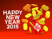 Hong Bao And Old Coins, Greeting On Red Background. 3D render illustration For New Year's Day In Asia. Isolated On Red Background vector illustration