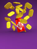 Hong Bao And Old Coins On Purple Text Space. 3D render illustration For New Year's Day In Asia Royalty Free Stock Image