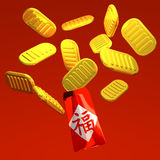 Hong Bao And Old Coins On Red. 3D render illustration For New Year's Day In Asia Stock Image