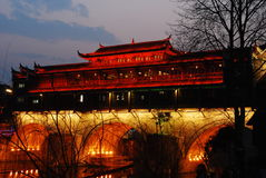 Hong Bridge. Hong Bidge, Hong Qiao in chinese. Special bridge in southwest china. night view with lights Stock Images