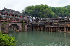 Hong Bridge in Fenghuang Ancient town, Hunan province, China. This ancient town was added to the UNESCO World Heritage Tentative List in the Cultural category Royalty Free Stock Photo