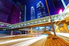 Hong Hong city with traffic trail Royalty Free Stock Photo