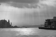 Hong Hong, Victoria harbour,. Black and white Royalty Free Stock Photography
