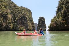 Tourists enjoying canoeing  at  Hong island Royalty Free Stock Image
