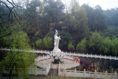 Hong Jiang, China: a Buddism godness Guanyin statue of Buddha. Hunan Hongjiang City, Forest Park, a huge statue of Buddha a Buddism godness Guanyin. It is Royalty Free Stock Photography