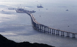 Hong Kong – Zhuhai – Macao Bridge HZMB. Under construction .Nearby Tai O and Airport Area in Hong Kong stock images