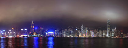 Hong Kong на ноче, панораме Стоковая Фотография RF