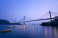 Hong Kong. It is beautiful night scenes of Bridge in Hong Kong Royalty Free Stock Images