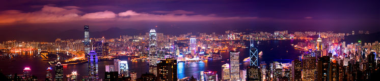 Hong Kong 2010. A panoramic view of modern hong kong royalty free stock photography