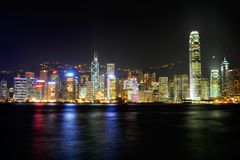 Hong Kong. Skyline at night from across the Victoria harbour in TST area stock photo