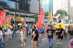 2015 Hong Kong-activisten maart voor stem op kiespakket Stock Foto