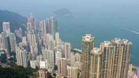 Hong Kong, aerial footage from Victoria peak. Flying with drone above Hong Kong from Victoria peak stock video footage