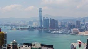Hong Kong Aerial-horizon tijd-Tijdspanne Filter omhoog stock video