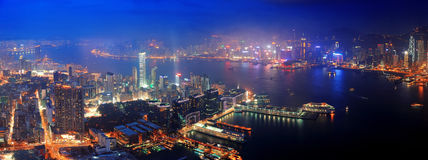 Hong Kong aerial night Stock Images
