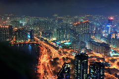Hong Kong aerial night Royalty Free Stock Images