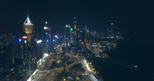 Hong Kong Aerial View bij Nacht stock videobeelden