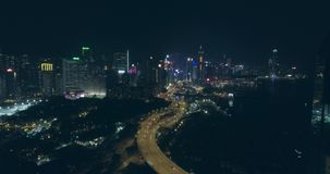 Hong Kong Aerial View nachts stock footage