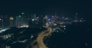 Hong Kong Aerial View nachts stock video footage