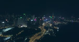 Hong Kong Aerial View nachts stock video