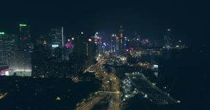 Hong Kong Aerial View at Night stock video