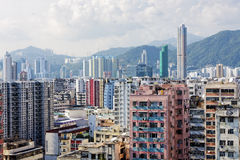 Hong Kong aerial view panorama with urban skyscrapers. At day Stock Photography