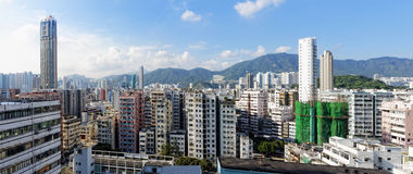 Hong Kong aerial view panorama with urban skyscrapers Stock Photography