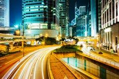 Hong Kong affärsmitt på natten Fotografering för Bildbyråer