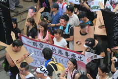 Hong Kong against government marches 2012 Royalty Free Stock Image