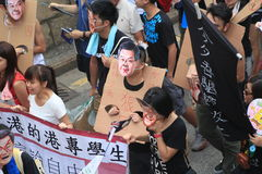Hong Kong against government marches 2012 Royalty Free Stock Photography