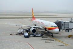 Hong Kong Airlines Airbus 320 at Nanjing Airport royalty free stock photos