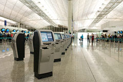 Hong Kong Airport Self Check-in Stock Photos
