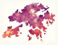 Hong Kong akwareli specjalna administracyjna mapa Chiny w fron obrazy stock
