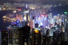 Hong Kong alla notte Fotografia Stock Libera da Diritti