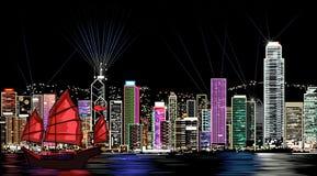 Hong Kong alla notte illustrazione vettoriale