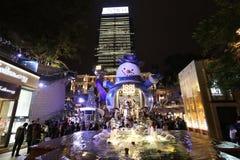 Hong Kong alla notte di Natale Fotografia Stock