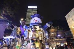 Hong Kong alla notte di Natale Fotografia Stock Libera da Diritti