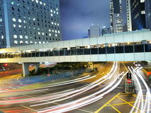 Hong Kong Amazing Traffic at Night. Amazing traffic in Hong Kong commercial district at night Royalty Free Stock Photo
