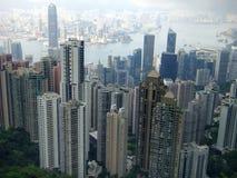Hong Kong-Ansicht von der Aussichtsplattform auf Victoria-Spitze stockbilder