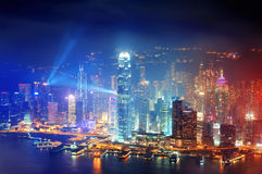 Hong Kong-Antennennacht Stockbilder
