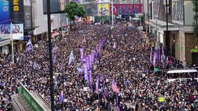 Hong Kong anti-government and police force march.