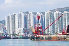 Hong Kong apartment blocks along the coast Stock Photos