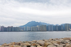 Hong Kong apartment blocks along the coast Royalty Free Stock Photography