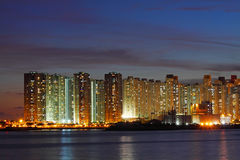 Hong Kong apartment blocks at night Stock Photos