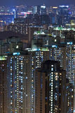 Hong Kong apartment blocks at night Stock Photography