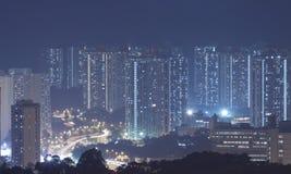 Hong Kong apartment blocks at night Royalty Free Stock Image