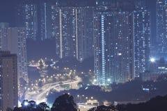 Hong Kong apartment blocks at night Stock Photo